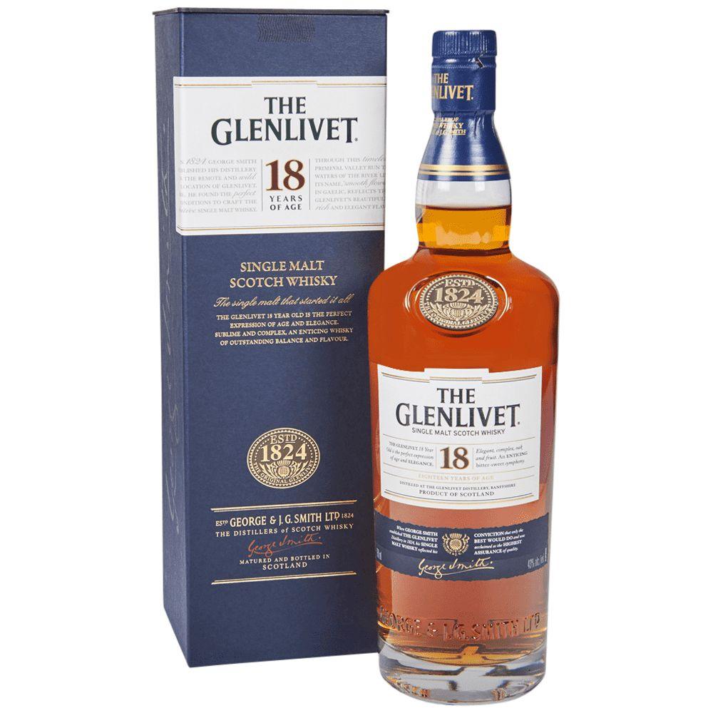 WHISKY SINGLE MALT GLENLIVET 18 ANOS 750ML